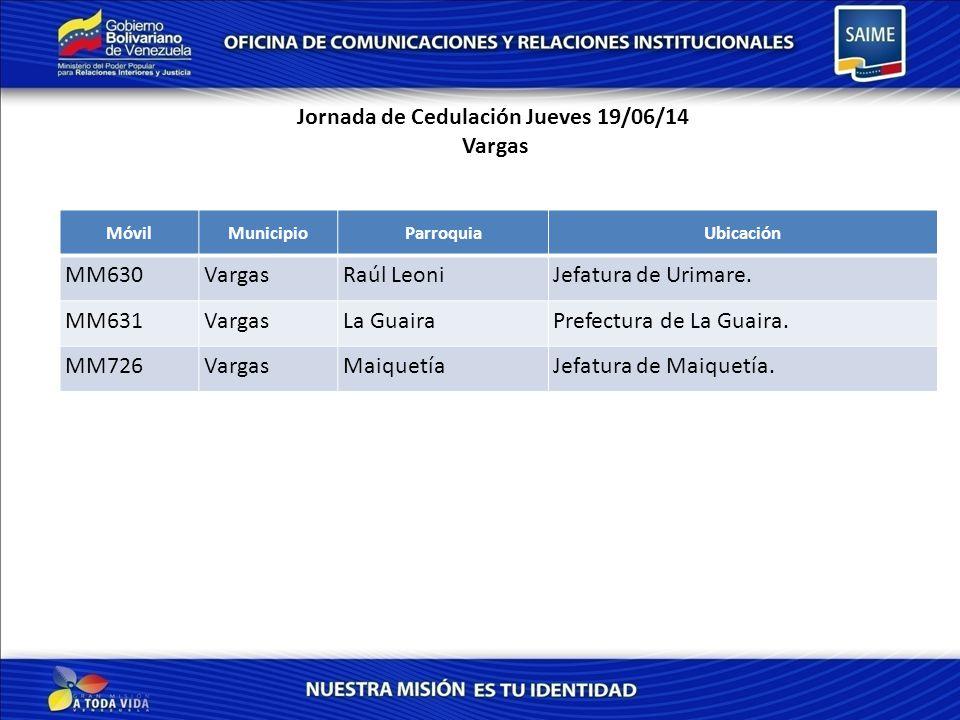 Jornada de Cedulación Jueves 19/06/14 Vargas MóvilMunicipioParroquiaUbicación MM630VargasRaúl LeoniJefatura de Urimare.