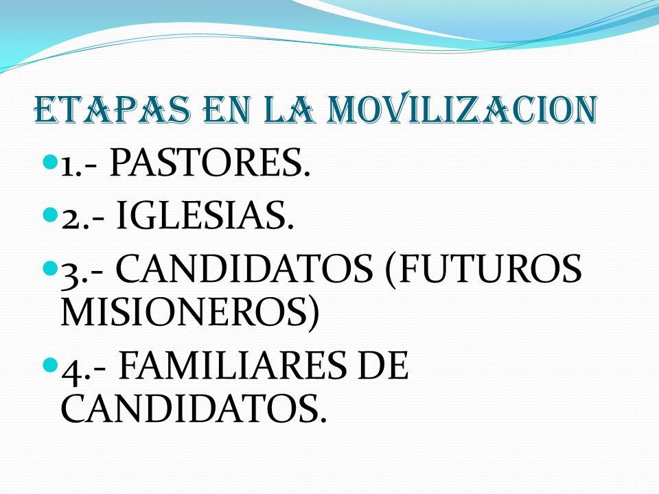 ETAPAS EN LA MOVILIZACION 1.- PASTORES. 2.- IGLESIAS. 3.- CANDIDATOS (FUTUROS MISIONEROS) 4.- FAMILIARES DE CANDIDATOS.