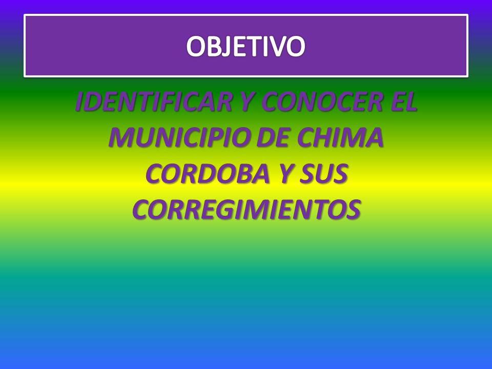 IDENTIFICAR Y CONOCER EL MUNICIPIO DE CHIMA CORDOBA Y SUS CORREGIMIENTOS