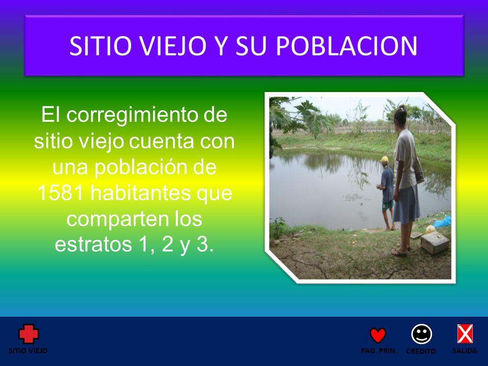 SITIO VIEJO Y SU POBLACION El corregimiento de sitio viejo cuenta con una población de 1581 habitantes que comparten los estratos 1, 2 y 3.