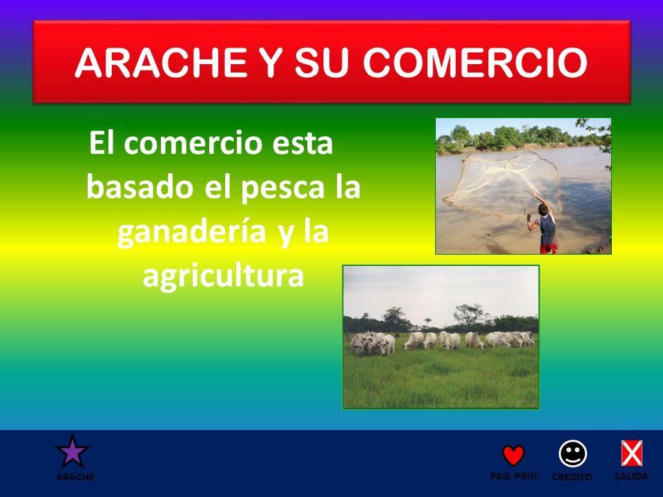 ARACHE Y SU COMERCIO El comercio esta basado el pesca la ganadería y la agricultura SALIDA CREDITO PAG.