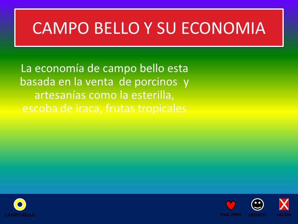 CAMPO BELLO Y SU ECONOMIA La economía de campo bello esta basada en la venta de porcinos y artesanías como la esterilla, escoba de iraca, frutas tropicales SALIDA CREDITO PAG.