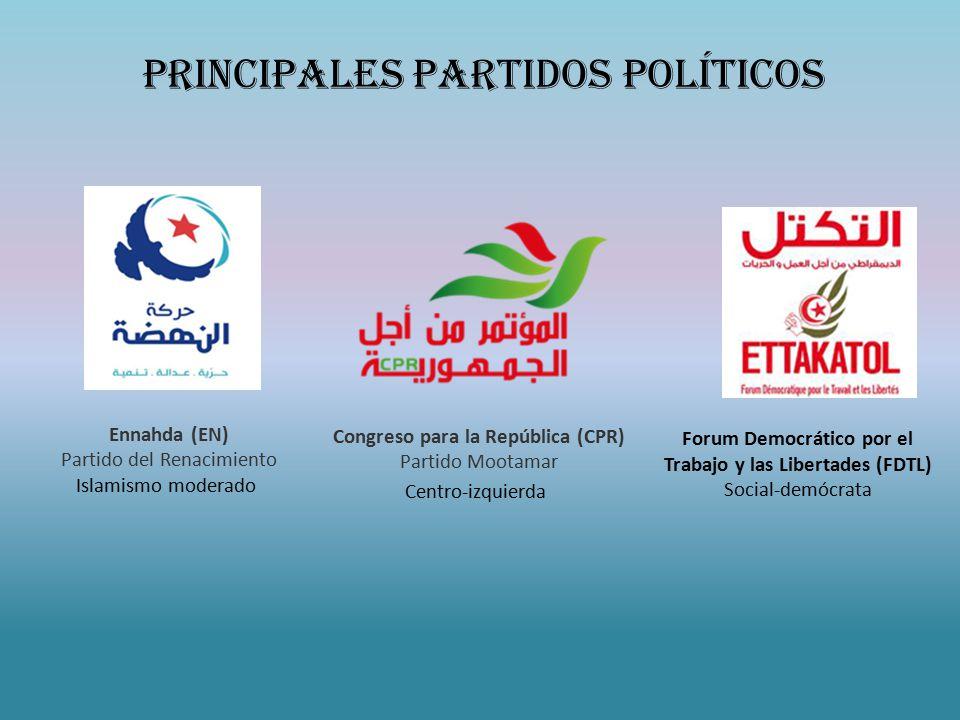 Ennahda (EN) Partido del Renacimiento Islamismo moderado Congreso para la República (CPR) Partido Mootamar Centro-izquierda Forum Democrático por el Trabajo y las Libertades (FDTL) Social-demócrata Principales Partidos Políticos