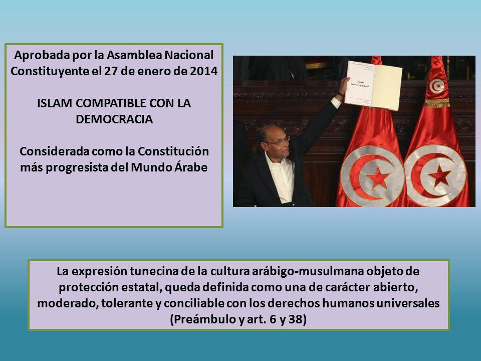 La expresión tunecina de la cultura arábigo-musulmana objeto de protección estatal, queda definida como una de carácter abierto, moderado, tolerante y conciliable con los derechos humanos universales (Preámbulo y art.