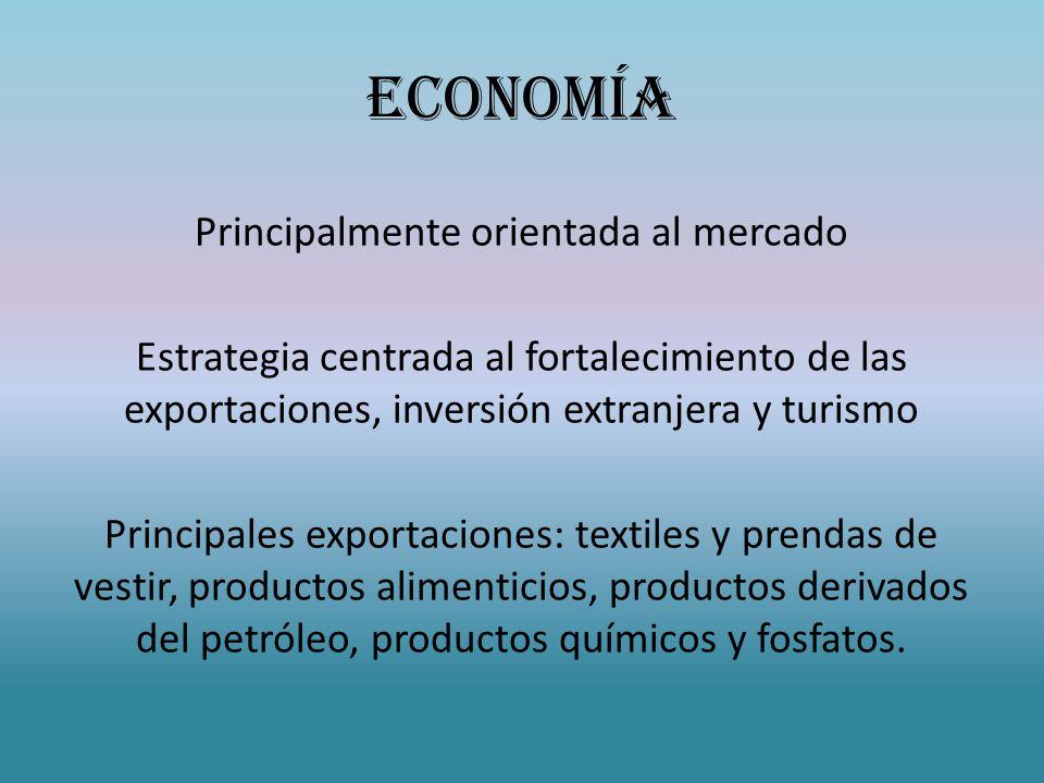 ECONOMÍA Principalmente orientada al mercado Estrategia centrada al fortalecimiento de las exportaciones, inversión extranjera y turismo Principales exportaciones: textiles y prendas de vestir, productos alimenticios, productos derivados del petróleo, productos químicos y fosfatos.