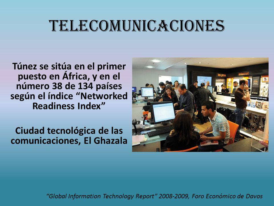 Telecomunicaciones Túnez se sitúa en el primer puesto en África, y en el número 38 de 134 países según el índice Networked Readiness Index Ciudad tecnológica de las comunicaciones, El Ghazala Global Information Technology Report 2008-2009, Foro Económico de Davos