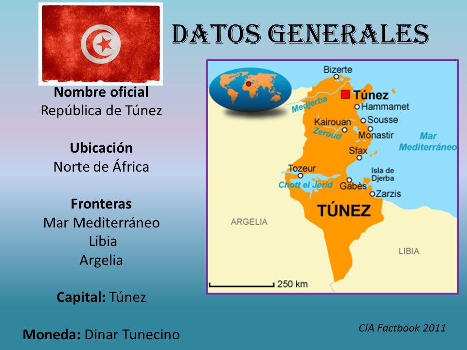 Nombre oficial República de Túnez Ubicación Norte de África Fronteras Mar Mediterráneo Libia Argelia Capital: Túnez Moneda: Dinar Tunecino DATOS GENERALES CIA Factbook 2011