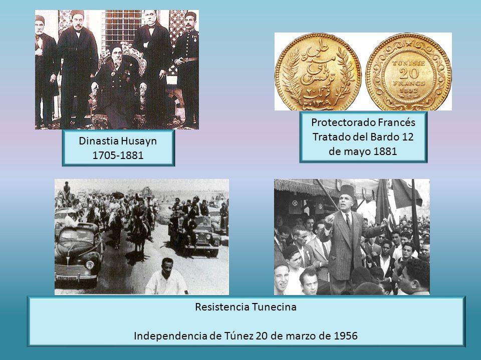 Protectorado Francés Tratado del Bardo 12 de mayo 1881 Resistencia Tunecina Independencia de Túnez 20 de marzo de 1956 Dinastia Husayn 1705-1881