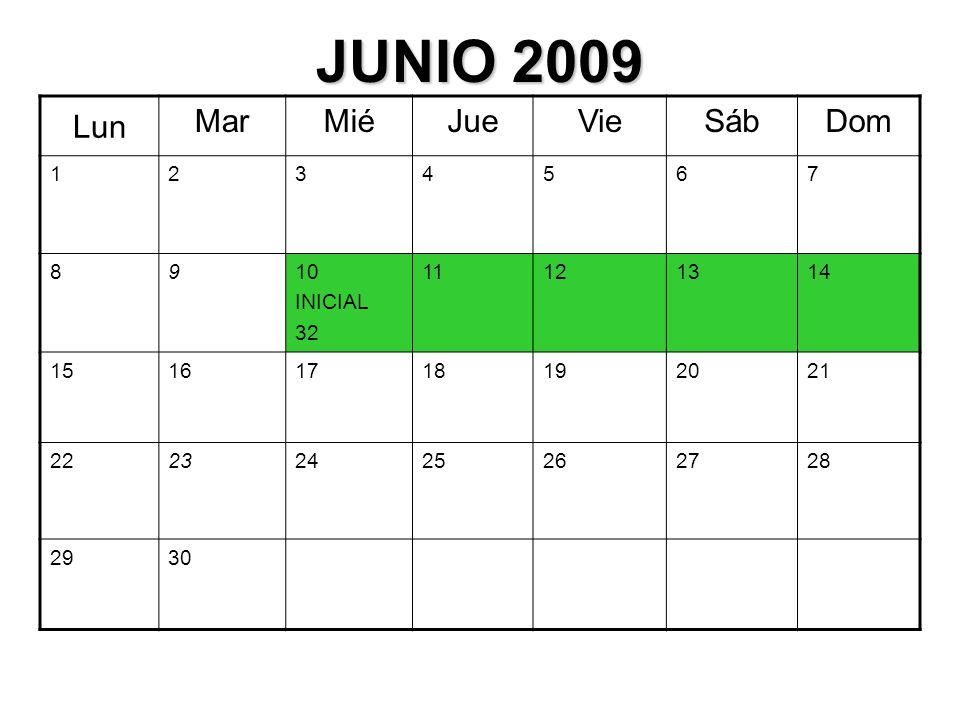 JUNIO 2009 Lun MarMiéJueVieSábDom 1234567 8910 INICIAL 32 11121314 15161718192021 22232425262728 2930