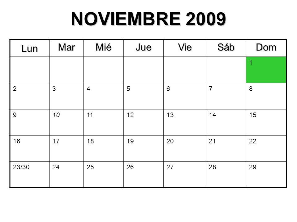 NOVIEMBRE 2009 Lun MarMiéJueVieSábDom 1 2345678 9101112131415 16171819202122 23/30242526272829