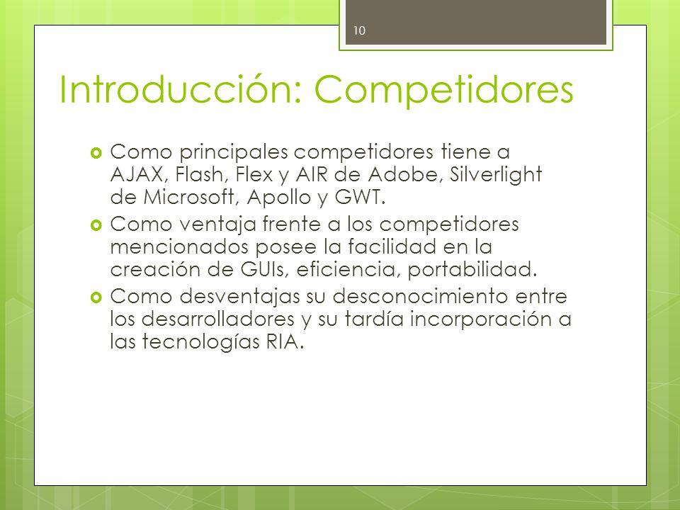Introducción: Competidores  Como principales competidores tiene a AJAX, Flash, Flex y AIR de Adobe, Silverlight de Microsoft, Apollo y GWT.
