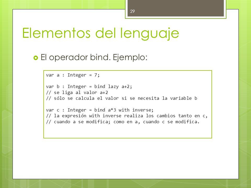Elementos del lenguaje  El operador bind.
