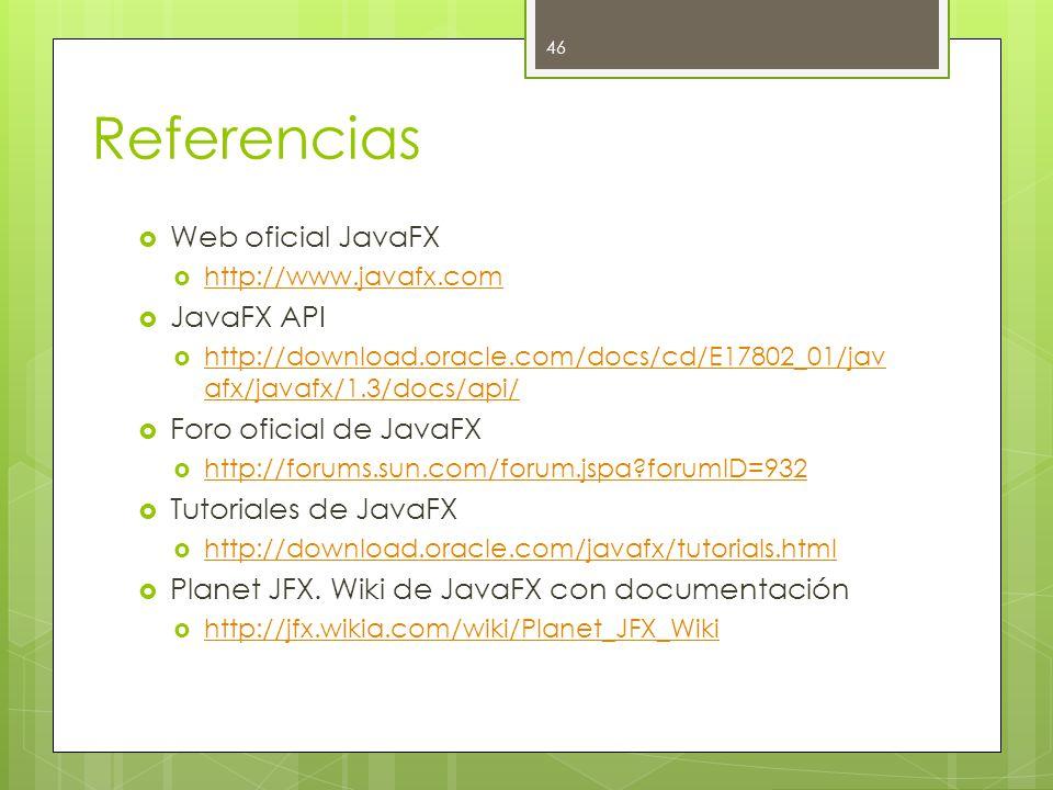 Referencias  Web oficial JavaFX  http://www.javafx.com http://www.javafx.com  JavaFX API  http://download.oracle.com/docs/cd/E17802_01/jav afx/javafx/1.3/docs/api/ http://download.oracle.com/docs/cd/E17802_01/jav afx/javafx/1.3/docs/api/  Foro oficial de JavaFX  http://forums.sun.com/forum.jspa?forumID=932 http://forums.sun.com/forum.jspa?forumID=932  Tutoriales de JavaFX  http://download.oracle.com/javafx/tutorials.html http://download.oracle.com/javafx/tutorials.html  Planet JFX.