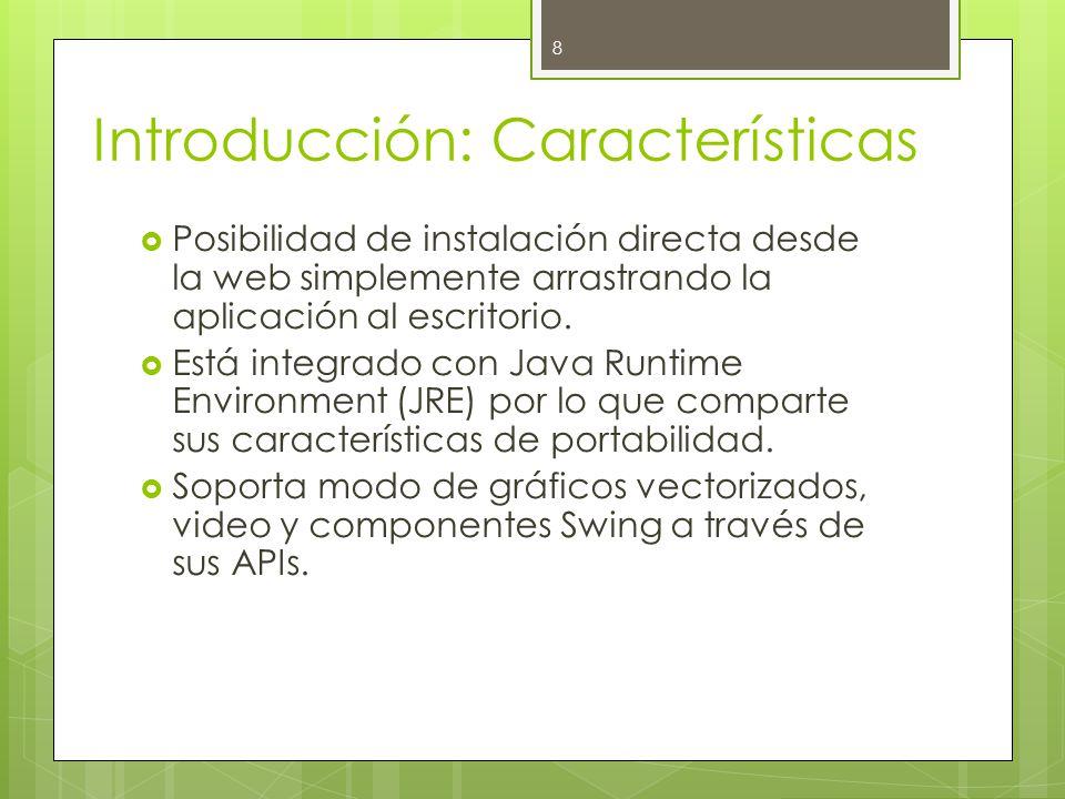 Introducción: Características  Posibilidad de instalación directa desde la web simplemente arrastrando la aplicación al escritorio.