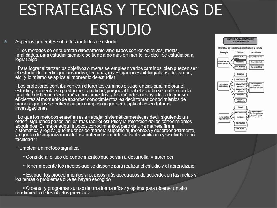 """ESTRATEGIAS Y TECNICAS DE ESTUDIO  Aspectos generales sobre los métodos de estudio """"Los métodos se encuentran directamente vinculados con los objetiv"""