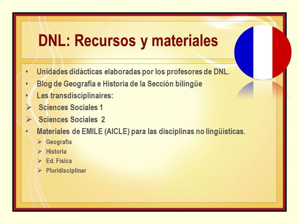 DNL: Recursos y materiales Unidades didácticas elaboradas por los profesores de DNL.