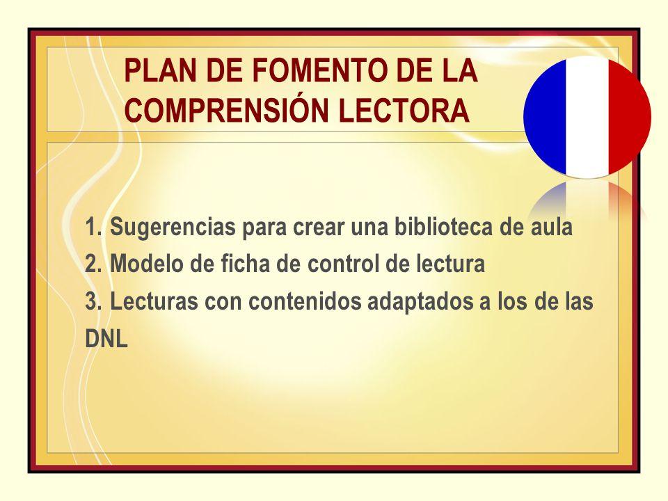 PLAN DE FOMENTO DE LA COMPRENSIÓN LECTORA 1.Sugerencias para crear una biblioteca de aula 2.Modelo de ficha de control de lectura 3.Lecturas con contenidos adaptados a los de las DNL