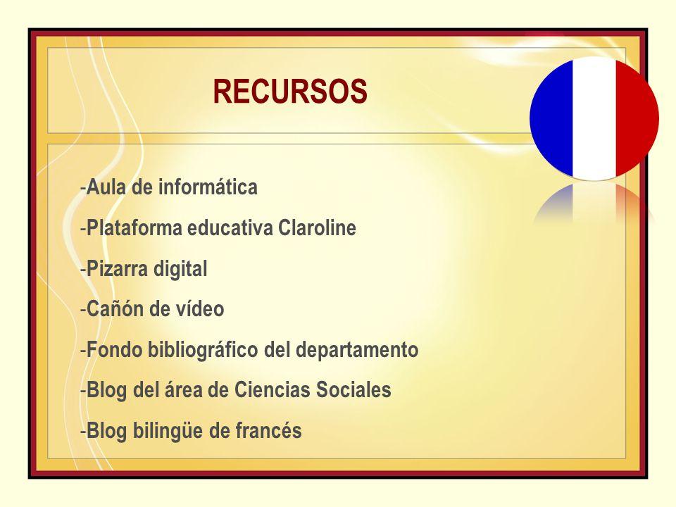 RECURSOS - Aula de informática - Plataforma educativa Claroline - Pizarra digital - Cañón de vídeo - Fondo bibliográfico del departamento - Blog del área de Ciencias Sociales - Blog bilingüe de francés