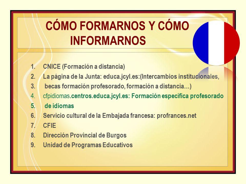CÓMO FORMARNOS Y CÓMO INFORMARNOS 1.CNICE (Formación a distancia) 2.La página de la Junta: educa.jcyl.es:(Intercambios institucionales, 3.