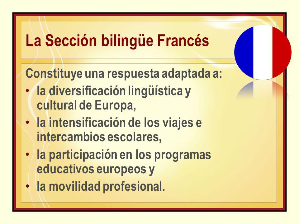 La Sección bilingüe Francés Constituye una respuesta adaptada a: la diversificación lingüística y cultural de Europa, la intensificación de los viajes e intercambios escolares, la participación en los programas educativos europeos y la movilidad profesional.