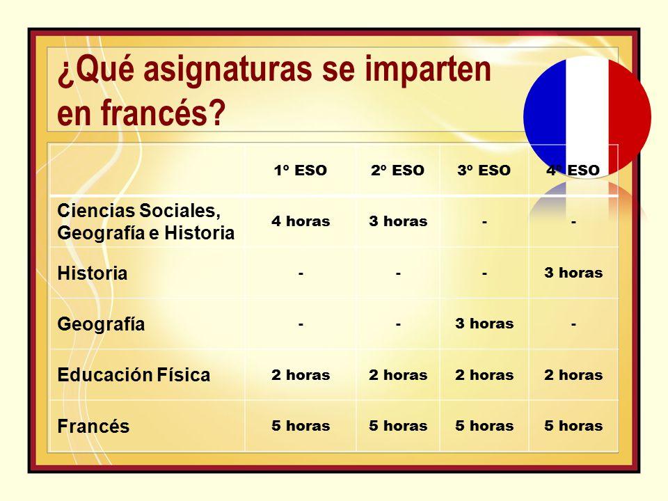 1º ESO2º ESO3º ESO4º ESO Ciencias Sociales, Geografía e Historia 4 horas3 horas-- Historia ---3 horas Geografía --3 horas- Educación Física 2 horas Francés 5 horas ¿Qué asignaturas se imparten en francés