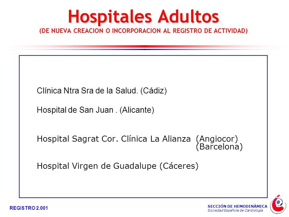 SECCIÓN DE HEMODINÁMICA Sociedad Española de Cardiología REGISTRO 2.001 Clínica Ntra Sra de la Salud.