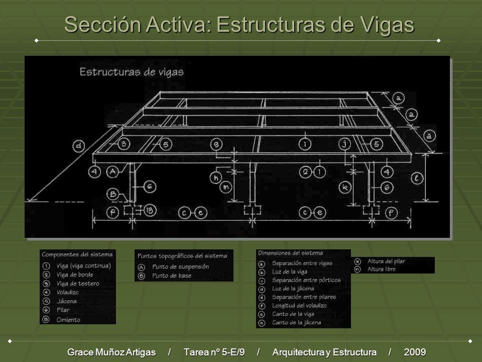 Sección Activa: Estructuras de Vigas Grace Muñoz Artigas / Tarea nº 5-E/9 / Arquitectura y Estructura / 2009
