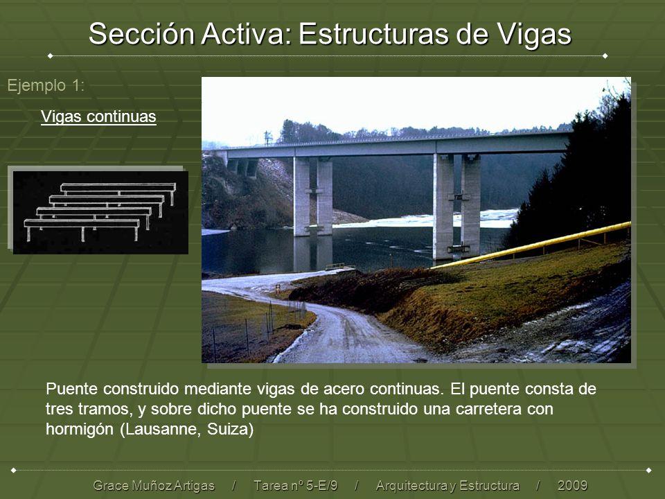 Sección Activa: Estructuras de Vigas Grace Muñoz Artigas / Tarea nº 5-E/9 / Arquitectura y Estructura / 2009 Ejemplo 1: Puente construido mediante vigas de acero continuas.