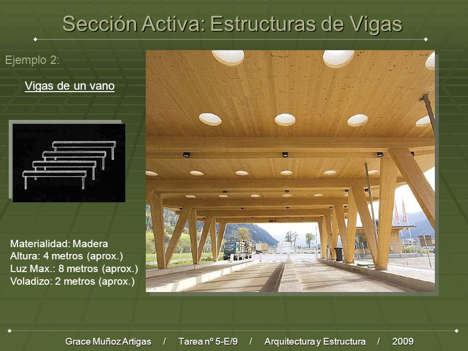 Sección Activa: Estructuras de Vigas Grace Muñoz Artigas / Tarea nº 5-E/9 / Arquitectura y Estructura / 2009 Ejemplo 2: Vigas de un vano Materialidad: Madera Altura: 4 metros (aprox.) Luz Max.: 8 metros (aprox.) Voladizo: 2 metros (aprox.)