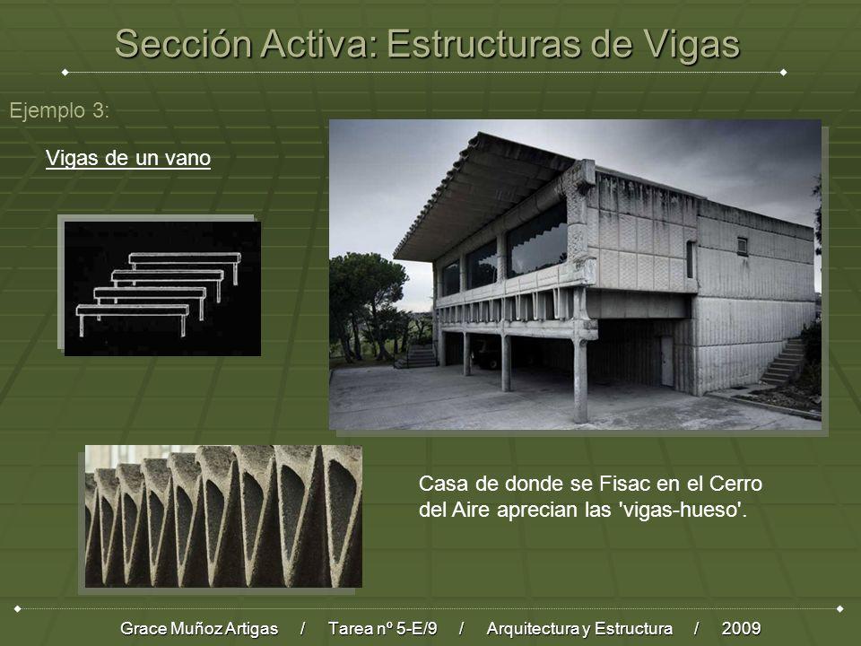 Sección Activa: Estructuras de Vigas Grace Muñoz Artigas / Tarea nº 5-E/9 / Arquitectura y Estructura / 2009 Ejemplo 3: Vigas de un vano Casa de donde se Fisac en el Cerro del Aire aprecian las vigas-hueso .