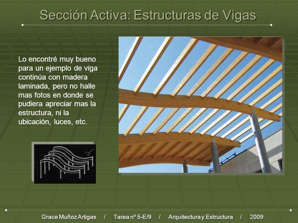 Sección Activa: Estructuras de Vigas Grace Muñoz Artigas / Tarea nº 5-E/9 / Arquitectura y Estructura / 2009 Lo encontré muy bueno para un ejemplo de viga continúa con madera laminada, pero no halle mas fotos en donde se pudiera apreciar mas la estructura, ni la ubicación, luces, etc.