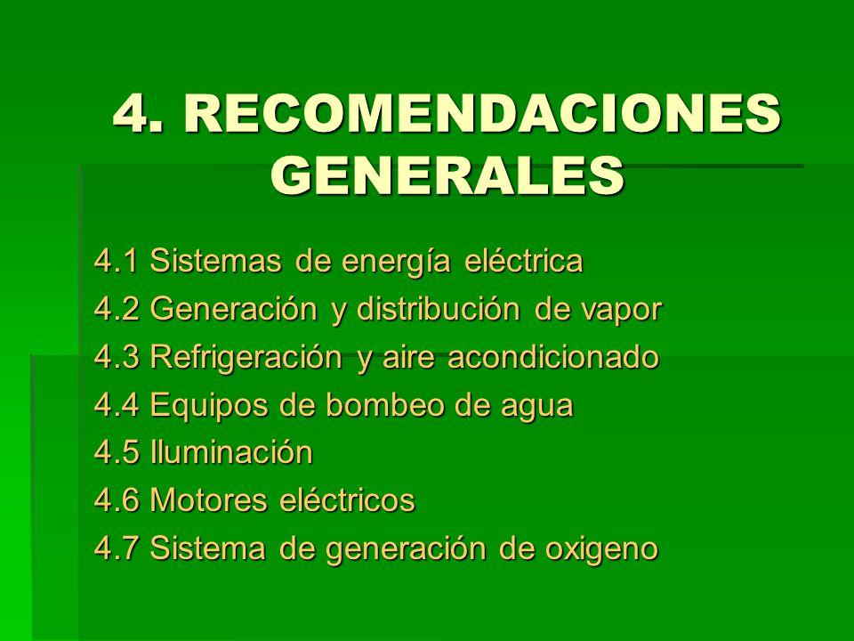 4. RECOMENDACIONES GENERALES 4.1 Sistemas de energía eléctrica 4.2 Generación y distribución de vapor 4.3 Refrigeración y aire acondicionado 4.4 Equip