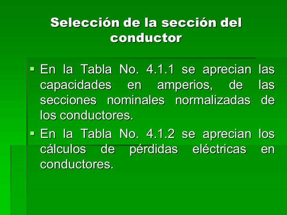 Selección de la sección del conductor  En la Tabla No. 4.1.1 se aprecian las capacidades en amperios, de las secciones nominales normalizadas de los