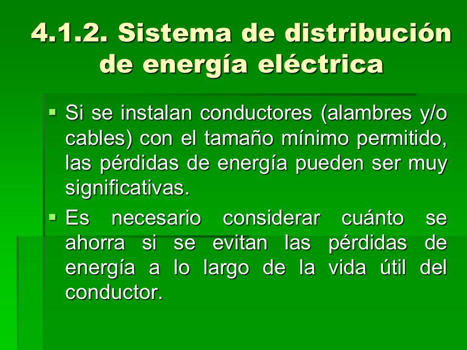 4.1.2. Sistema de distribución de energía eléctrica  Si se instalan conductores (alambres y/o cables) con el tamaño mínimo permitido, las pérdidas de