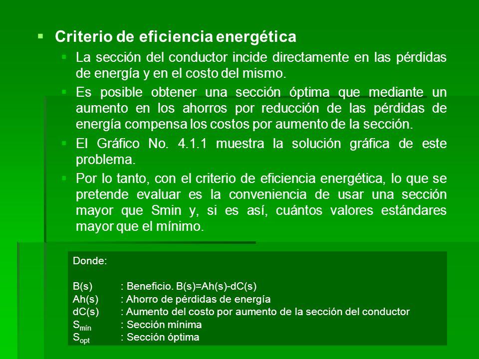   Criterio de eficiencia energética   La sección del conductor incide directamente en las pérdidas de energía y en el costo del mismo.   Es posi
