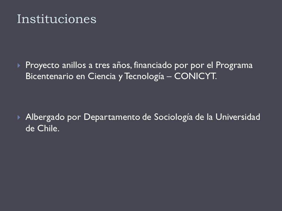Instituciones  Proyecto anillos a tres años, financiado por por el Programa Bicentenario en Ciencia y Tecnología – CONICYT.