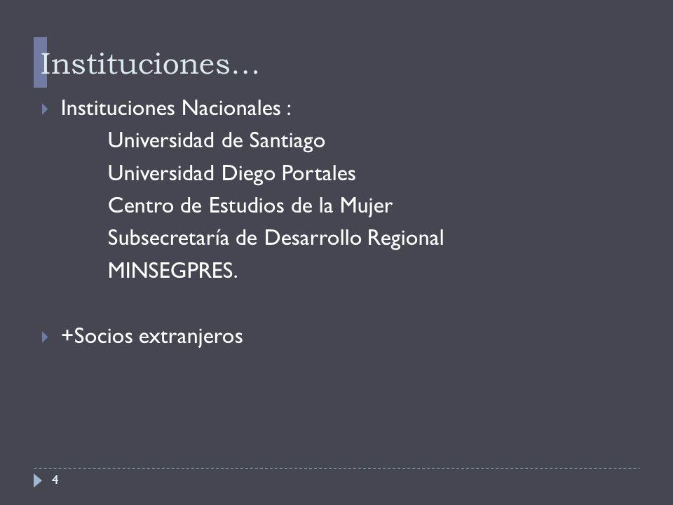 4 Instituciones…  Instituciones Nacionales : Universidad de Santiago Universidad Diego Portales Centro de Estudios de la Mujer Subsecretaría de Desarrollo Regional MINSEGPRES.