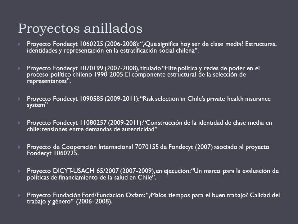 Proyectos anillados  Proyecto Fondecyt 1060225 (2006-2008): ¿Qué significa hoy ser de clase media.