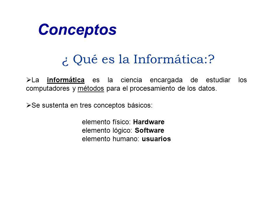 ¿ Qué es la Informática:? Conceptos  La informática es la ciencia encargada de estudiar los computadores y métodos para el procesamiento de los datos