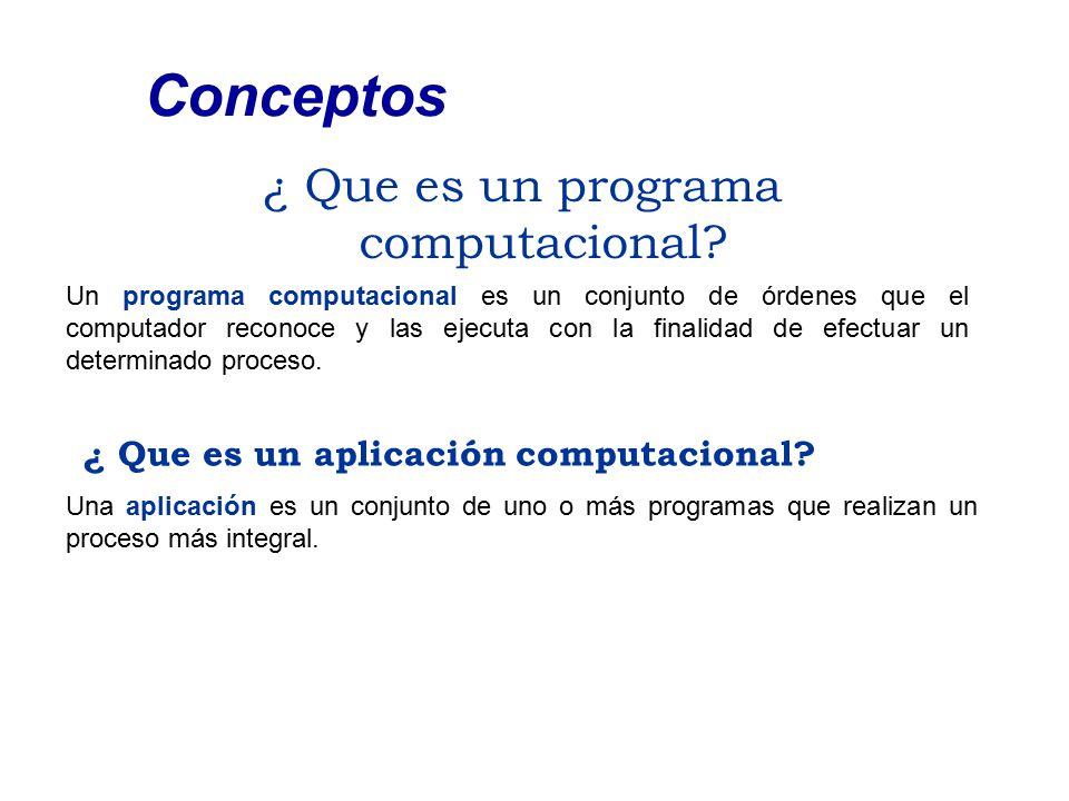 ¿ Que es un programa computacional? Conceptos Un programa computacional es un conjunto de órdenes que el computador reconoce y las ejecuta con la fina