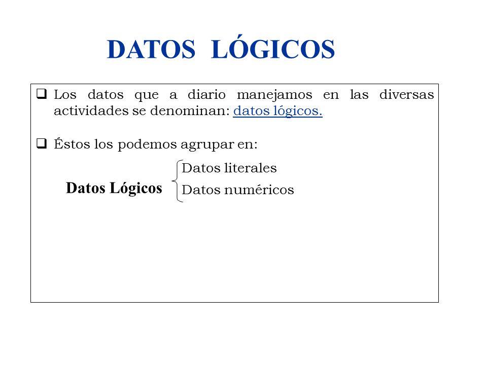  Los datos que a diario manejamos en las diversas actividades se denominan: datos lógicos.  Éstos los podemos agrupar en: Datos literales Datos numé