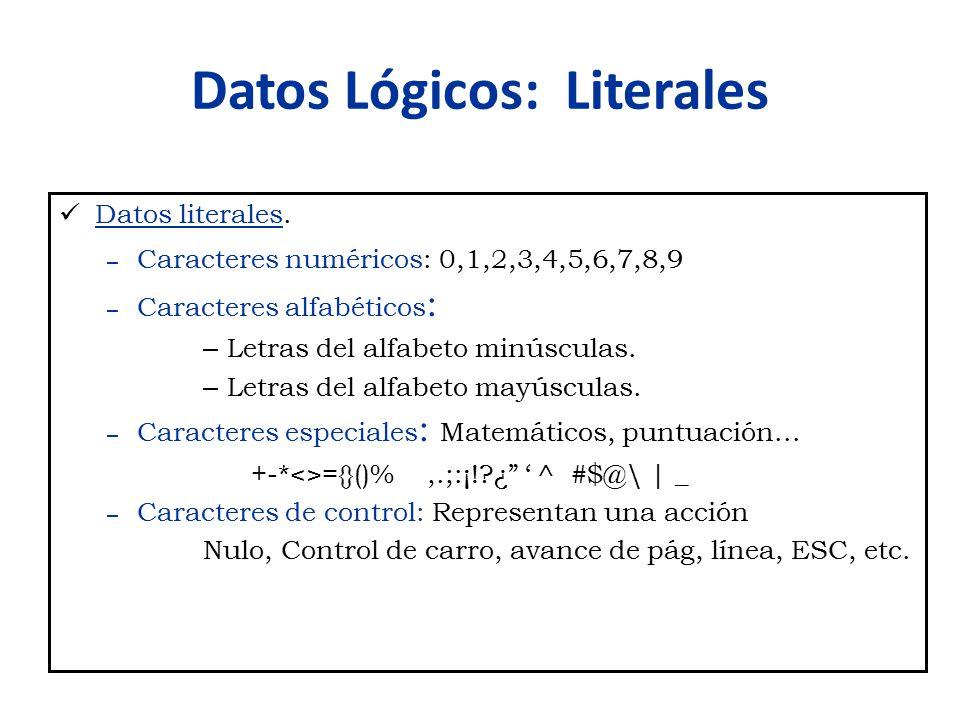 Datos Lógicos: Literales Datos literales. – Caracteres numéricos: 0,1,2,3,4,5,6,7,8,9 – Caracteres alfabéticos : – Letras del alfabeto minúsculas. – L