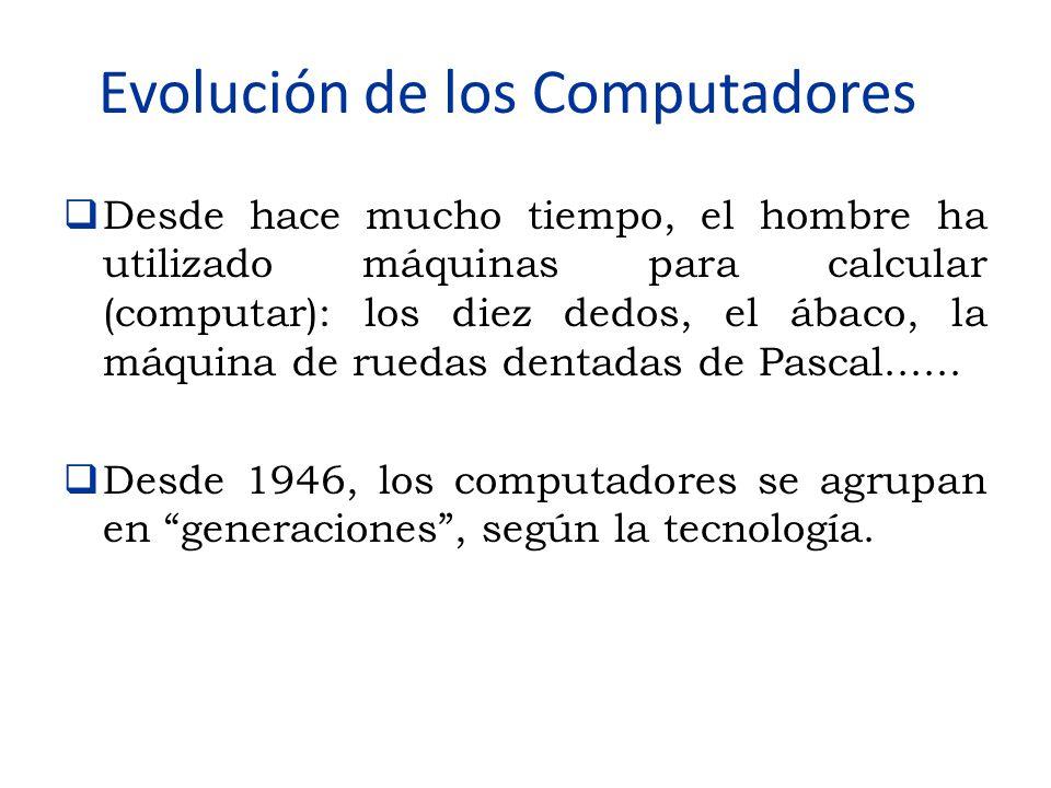 Evolución de los Computadores  Desde hace mucho tiempo, el hombre ha utilizado máquinas para calcular (computar): los diez dedos, el ábaco, la máquin