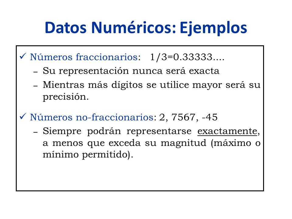 Datos Numéricos: Ejemplos Números fraccionarios: 1/3=0.33333.... – Su representación nunca será exacta – Mientras más dígitos se utilice mayor será su