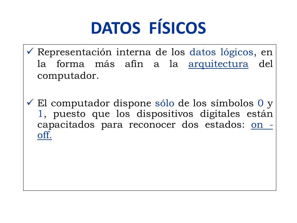DATOS FÍSICOS Representación interna de los datos lógicos, en la forma más afín a la arquitectura del computador. El computador dispone sólo de los sí