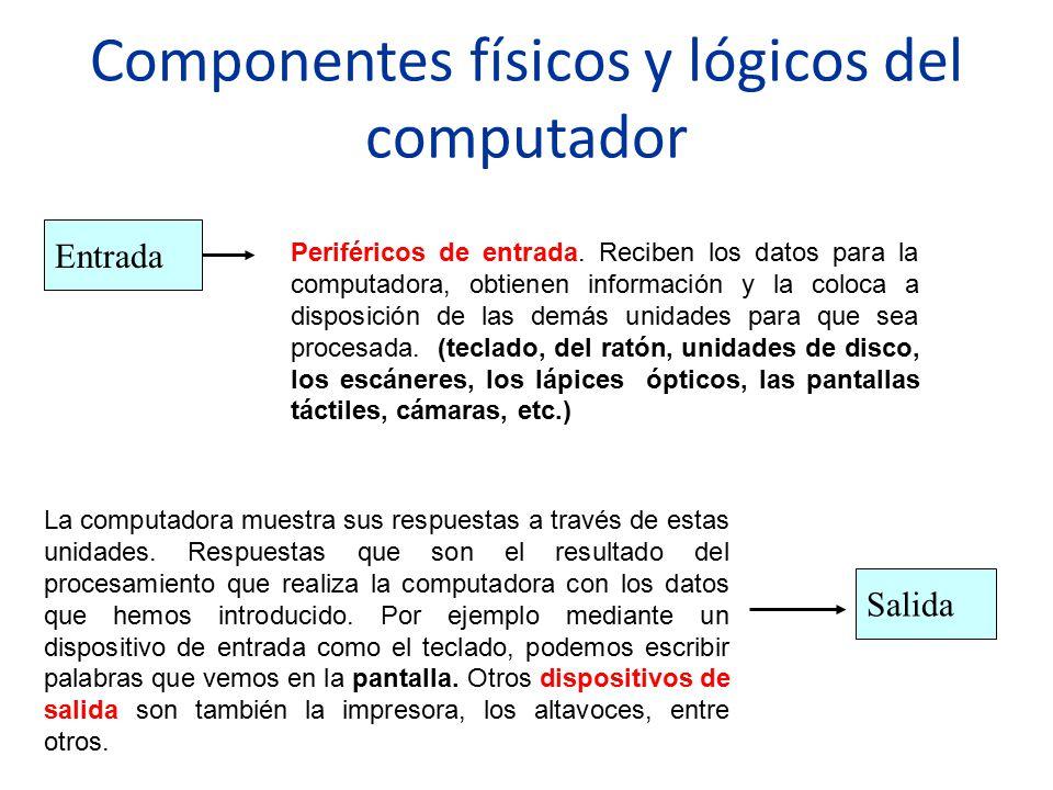 Componentes físicos y lógicos del computador Entrada Periféricos de entrada. Reciben los datos para la computadora, obtienen información y la coloca a