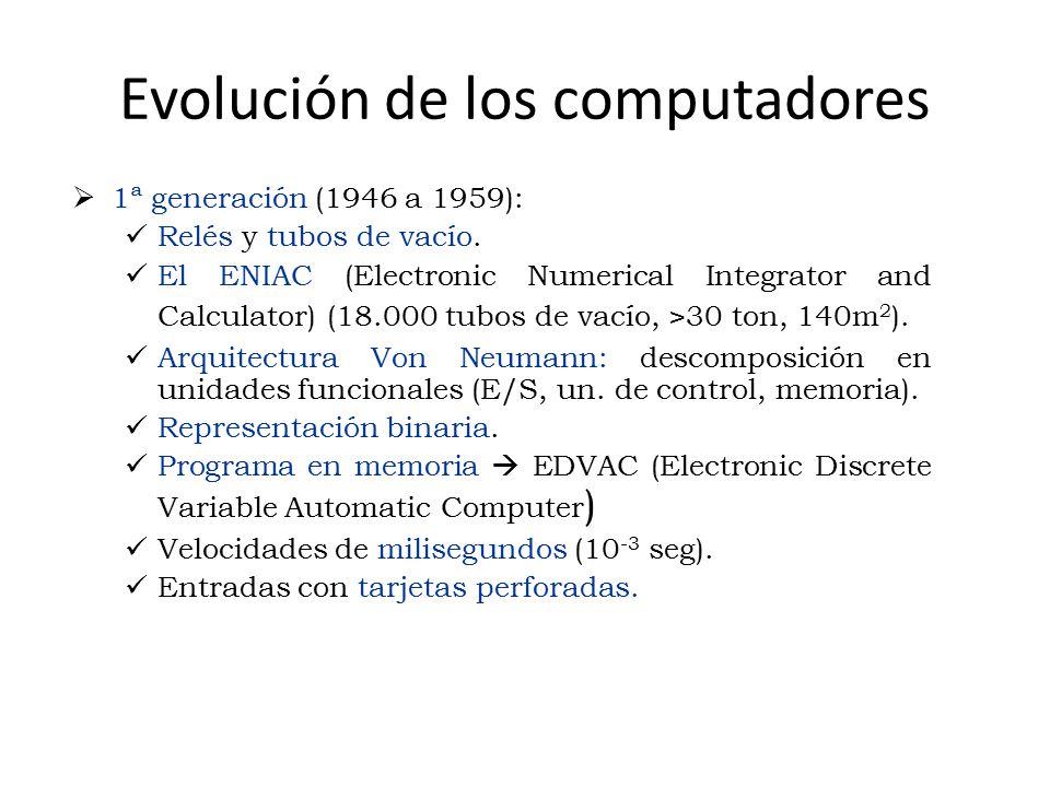 Evolución de los computadores  1ª generación (1946 a 1959): Relés y tubos de vacío. El ENIAC (Electronic Numerical Integrator and Calculator) (18.000