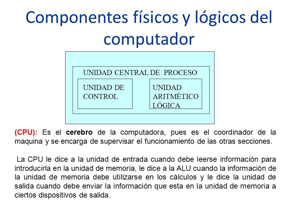 Componentes físicos y lógicos del computador UNIDAD CENTRAL DE PROCESO UNIDAD DE CONTROL UNIDAD ARITMÉTICO LÓGICA (CPU): Es el cerebro de la computado