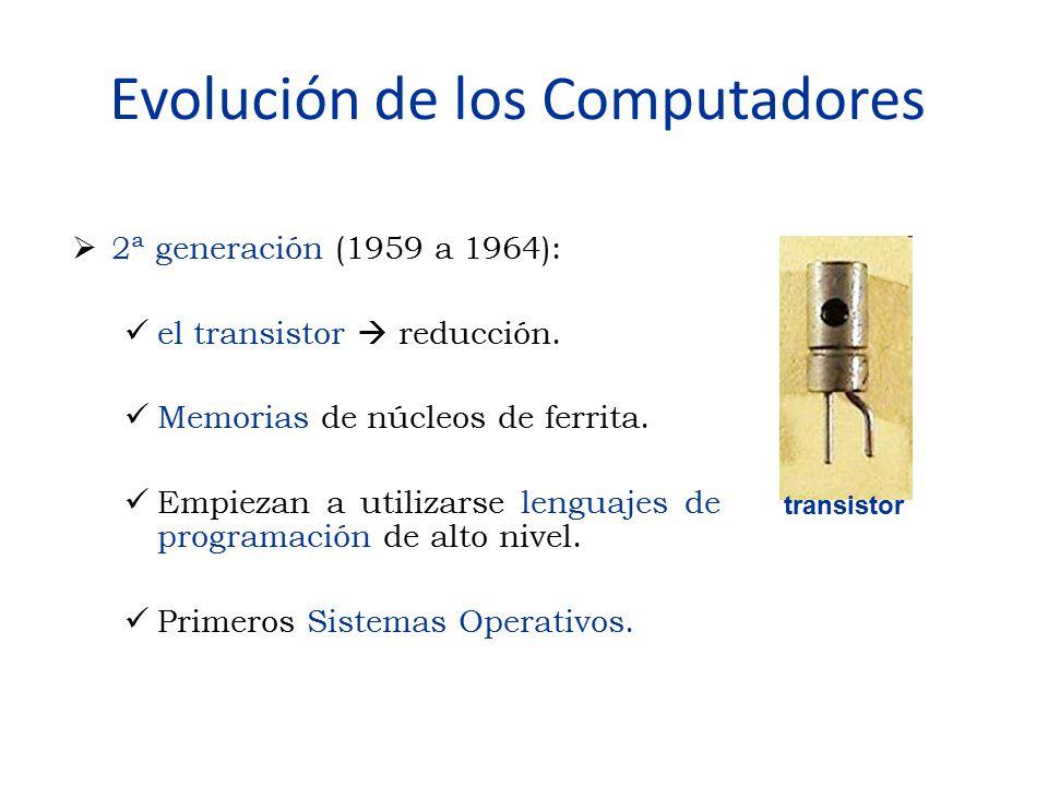 Evolución de los Computadores  2ª generación (1959 a 1964): el transistor  reducción. Memorias de núcleos de ferrita. Empiezan a utilizarse lenguaje