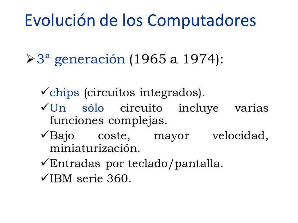  3ª generación (1965 a 1974): chips (circuitos integrados). Un sólo circuito incluye varias funciones complejas. Bajo coste, mayor velocidad, miniatu